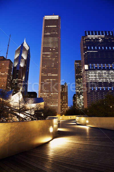 Peatonal puente Chicago horizonte Foto stock © benkrut