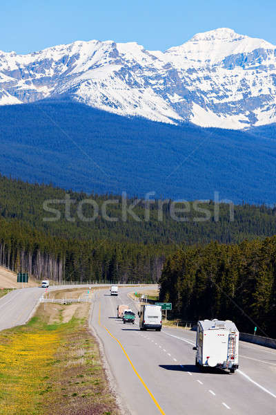 RV and buses on the road in Banff National Park Stock photo © benkrut