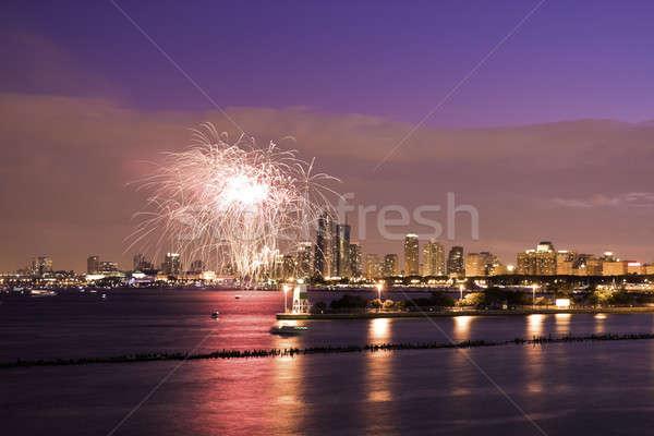 Feux d'artifice Chicago été coucher du soleil lac Michigan Photo stock © benkrut