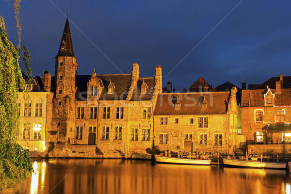 Architecture of Bruges at sunset Stock photo © benkrut