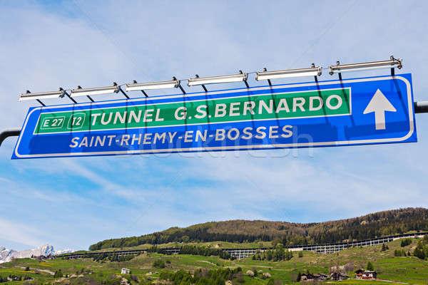 St Bernard Tunnel sign Stock photo © benkrut
