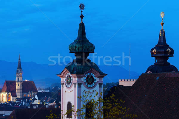 Steyr panorama with St. Michael's Church Stock photo © benkrut