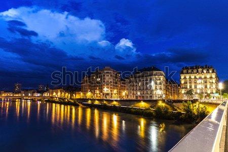 Arquitetura rio água edifício azul urbano Foto stock © benkrut