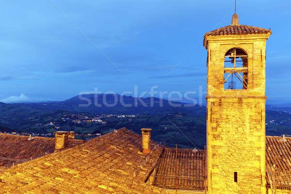 архитектура Сан-Марино сумерки синий путешествия Skyline Сток-фото © benkrut