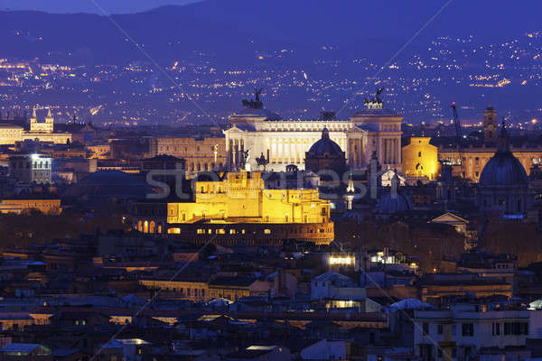 Rome panorama with Monument of Vittorio Emanuele II and Castel S Stock photo © benkrut