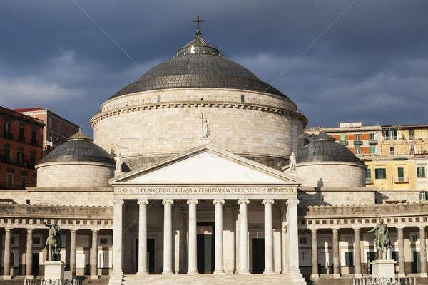Piazza Plebiscito in Naples with San Francesco di Paola Church Stock photo © benkrut