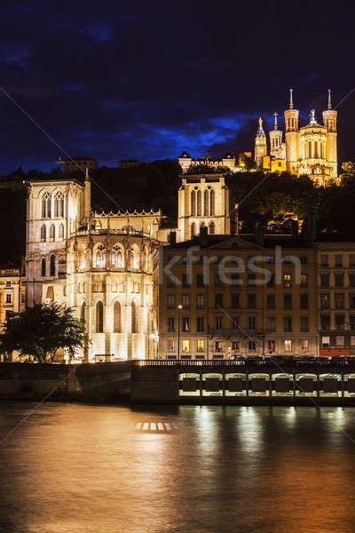 Bazylika katedry Lyon budynku kościoła podróży Zdjęcia stock © benkrut