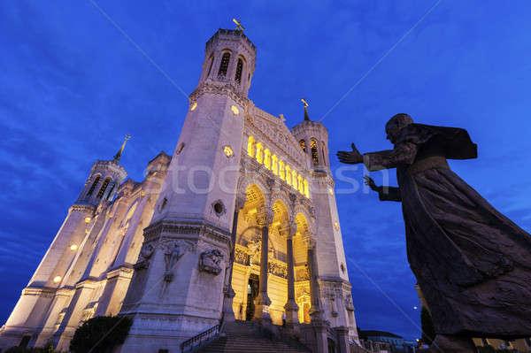 Bazilika Lyon pápa szobor égbolt épület Stock fotó © benkrut