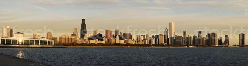 Chicago sabah panorama şehir dayanışma sürmek Stok fotoğraf © benkrut