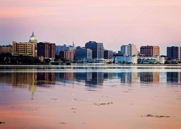 Belváros tó naplemente idő Wisconsin USA Stock fotó © benkrut