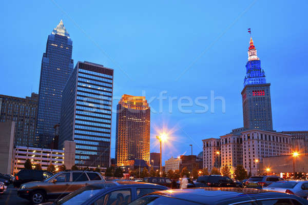 Cleveland downtown evening time Stock photo © benkrut