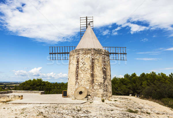 Stok fotoğraf: Bina · mavi · ufuk · çizgisi · panorama · kule · fırıldak