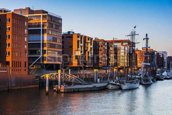 Architecutre of Hamburg at sunset Stock photo © benkrut