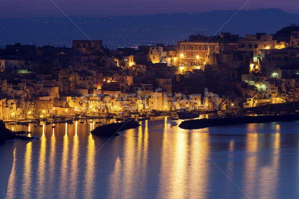 Marina île ville église Voyage nuit Photo stock © benkrut