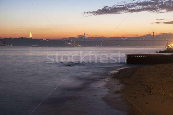 橋 像 水 市 砂 日の出 ストックフォト © benkrut