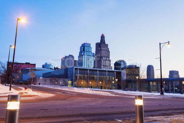 şehir panorama şafak kar seyahat ufuk çizgisi Stok fotoğraf © benkrut
