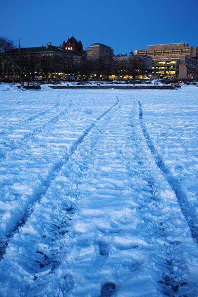 Egyetem fagyott tó hó hold kék Stock fotó © benkrut