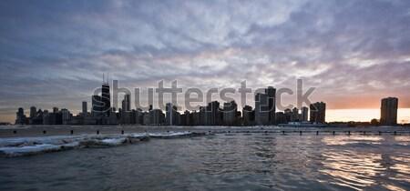 Tempête Chicago centre-ville lac Michigan eau Photo stock © benkrut