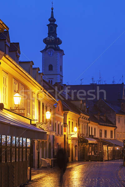 Streets of Zagreb old town and St. Mary's Church  Stock photo © benkrut