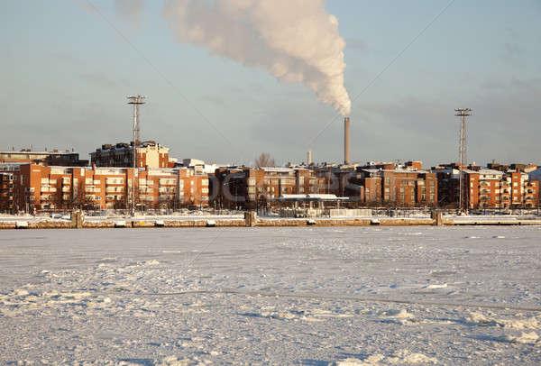Edifícios congelada mar báltico Helsinque Finlândia Foto stock © benkrut