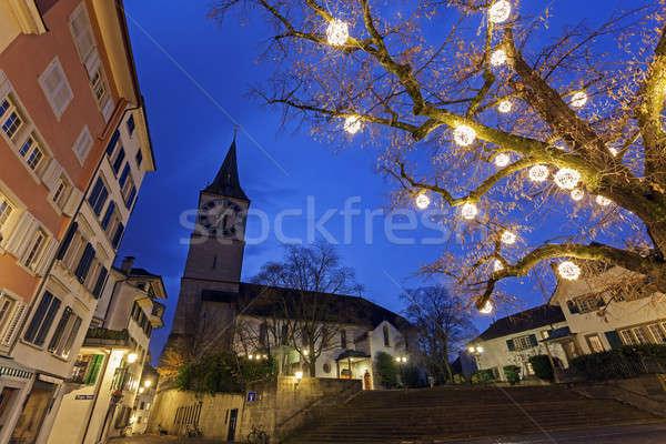 Kilise Zürih İsviçre gökyüzü su şehir Stok fotoğraf © benkrut
