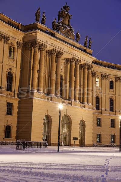 Eski kütüphane Berlin kış gündoğumu Almanya Stok fotoğraf © benkrut