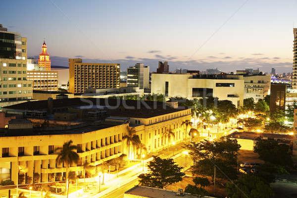 Kora reggel Miami belváros Freedom Tower üzlet iroda Stock fotó © benkrut