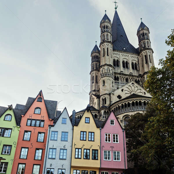 Great St. Martin Churchand and colorful houses of Cologne Stock photo © benkrut