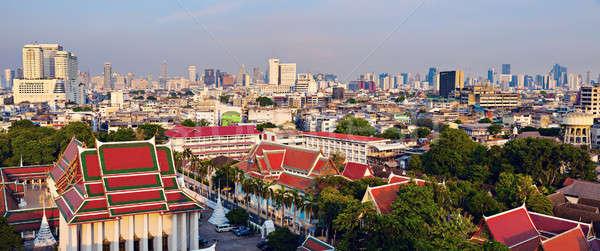 Bangkok ufuk çizgisi ofis Bina seyahat çatı Stok fotoğraf © benkrut