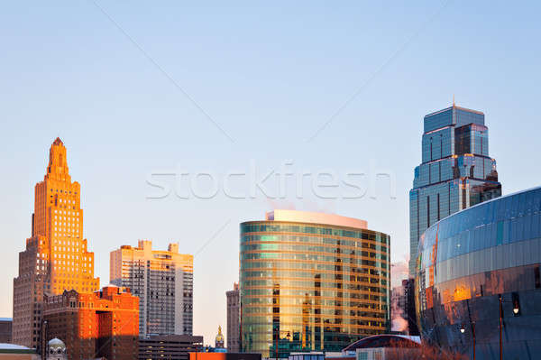 Kansas City architecture at sunrise Stock photo © benkrut