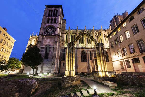 Catedral velho ruínas Lyon edifício viajar Foto stock © benkrut