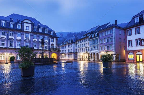 Regenachtig ochtend stad regen Blauw reizen Stockfoto © benkrut