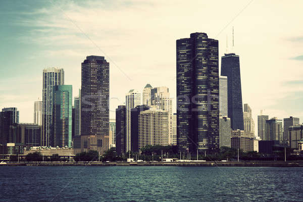 Chicago meer Michigan vintage stijl foto Stockfoto © benkrut