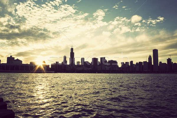 Сток-фото: зима · солнце · Skyline · Чикаго · Иллинойс · озеро