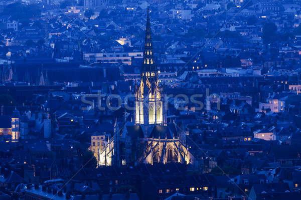 Abdij kerk normandië Frankrijk stad zonsondergang Stockfoto © benkrut