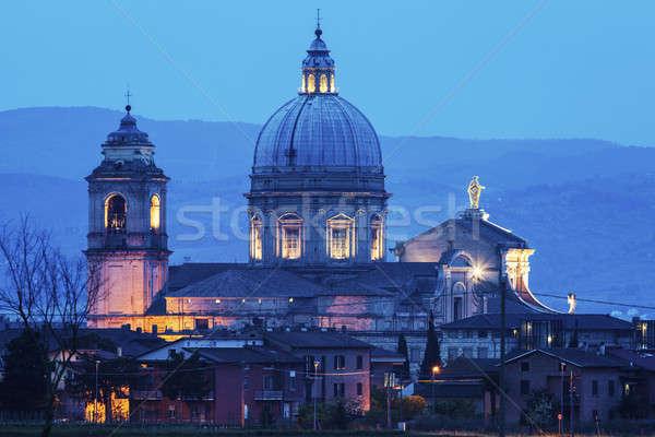 Bazilika szent angyalok kék éjszaka sziluett Stock fotó © benkrut