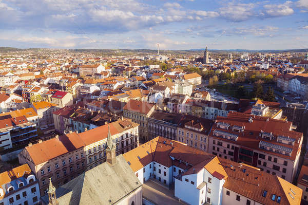 Panorama of Ceske Budejovice at sunset Stock photo © benkrut