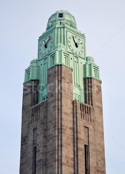 часы башни железнодорожная станция Хельсинки Финляндия Сток-фото © benkrut