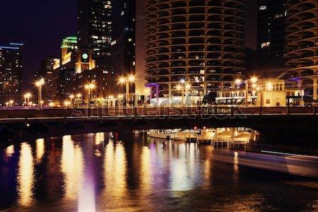 Straat brug Chicago Illinois USA water Stockfoto © benkrut