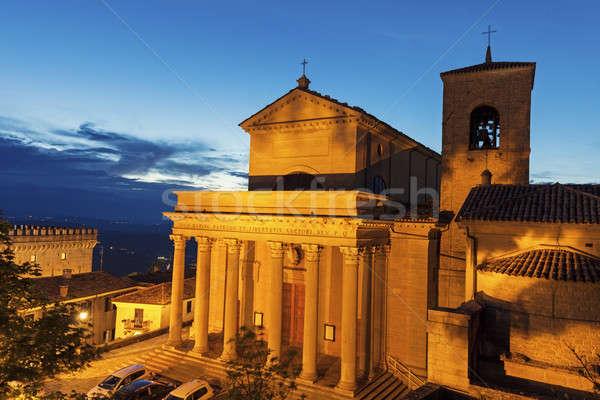 バシリカ サン·マリノ 日没 空 市 教会 ストックフォト © benkrut
