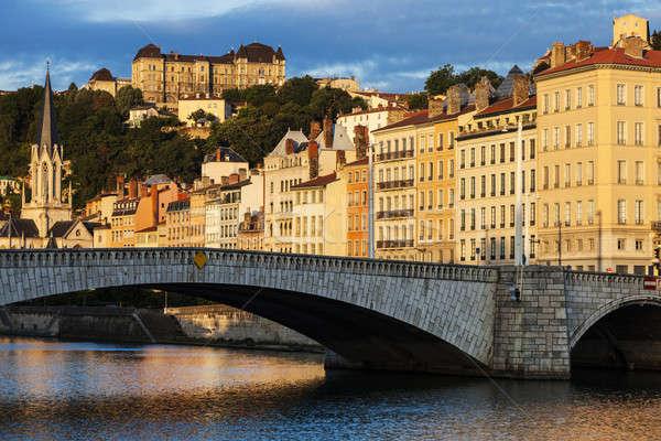 Ponte Lyon cidade nascer do sol linha do horizonte rio Foto stock © benkrut