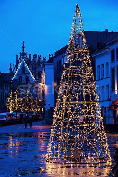 Christmas tree on Veemarkt in Mechelen Stock photo © benkrut