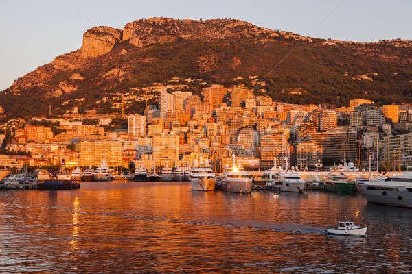 порта Монако Восход город путешествия лодка Сток-фото © benkrut