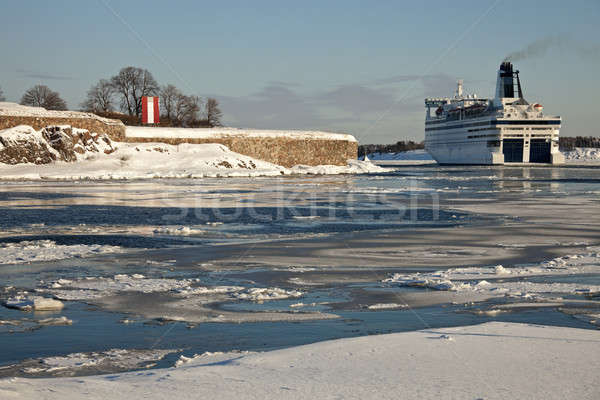 Ferry passing by Suomenlinna Sea Fortress Stock photo © benkrut