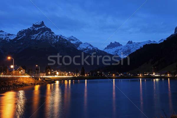 Eugenisee Lake and Engelberg at sunset  Stock photo © benkrut