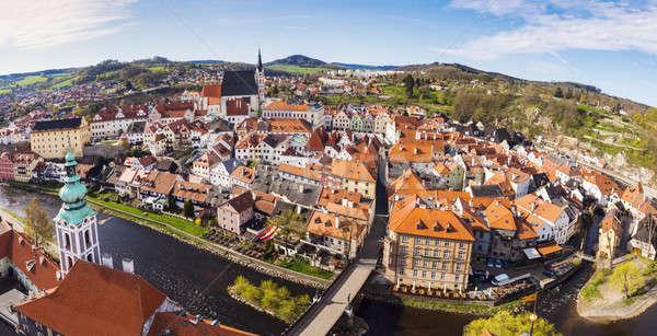 Aerial panorama of Cesky Krumlov Stock photo © benkrut