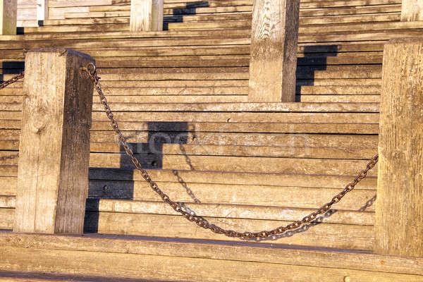 Fából készült lépcsősor New Orleans Mississippi folyó Stock fotó © benkrut