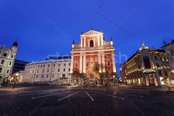 Franciscan Church and Prešeren Square. Ljubljana, Slovenia Stock photo © benkrut