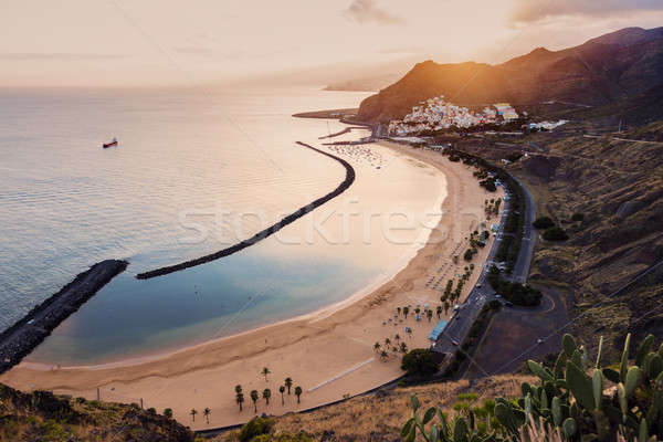 Tenerife zonsondergang Spanje strand natuur Stockfoto © benkrut
