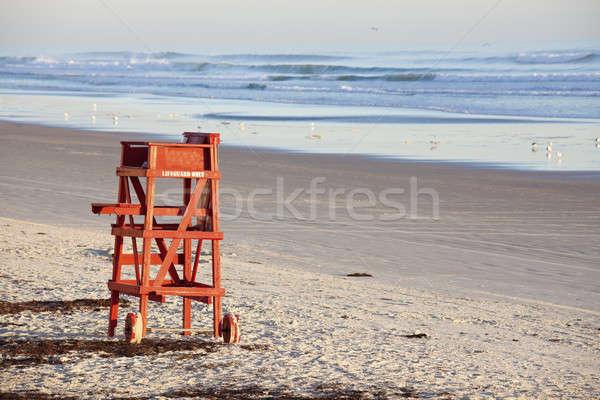ライフガード 座席 午前 時間 水 砂 ストックフォト © benkrut